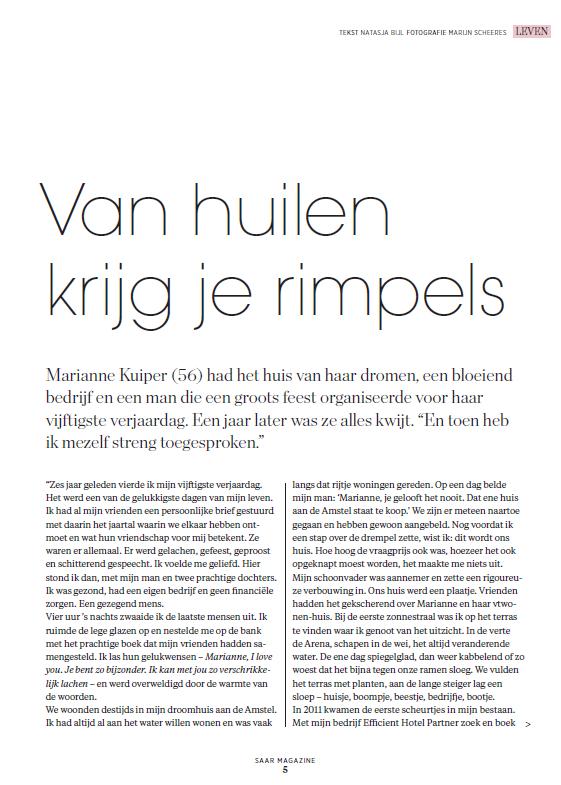 Van huilen krijg je rimpels - Saar Magazine